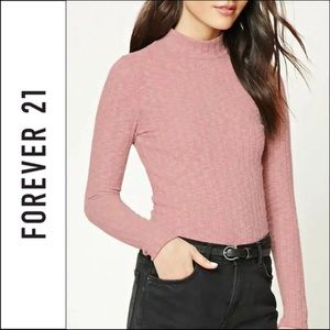 Forever 21 Mauve Pink Fleece Mock Neck Ribbed Top